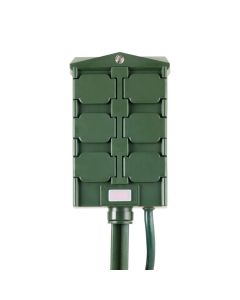 myTouchSmart Outdoor 6-Outlet Light Sensing Yard Stake Timer, Green